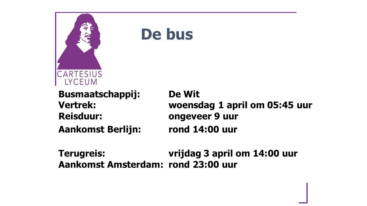 Busmaatschappij:De Wit Vertrek:woensdag 1 april om 05:45 uur Reisduur:ongeveer 9 uur Aankomst Berlijn:rond 14:00 uur Terugreis:vrijdag 3 april om 14:00 uur Aankomst Amsterdam:rond 23:00 uur De bus