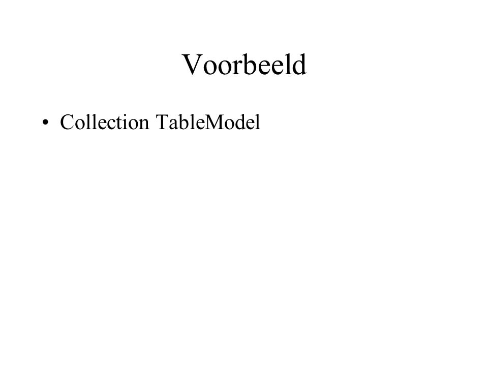 Voorbeeld Collection TableModel