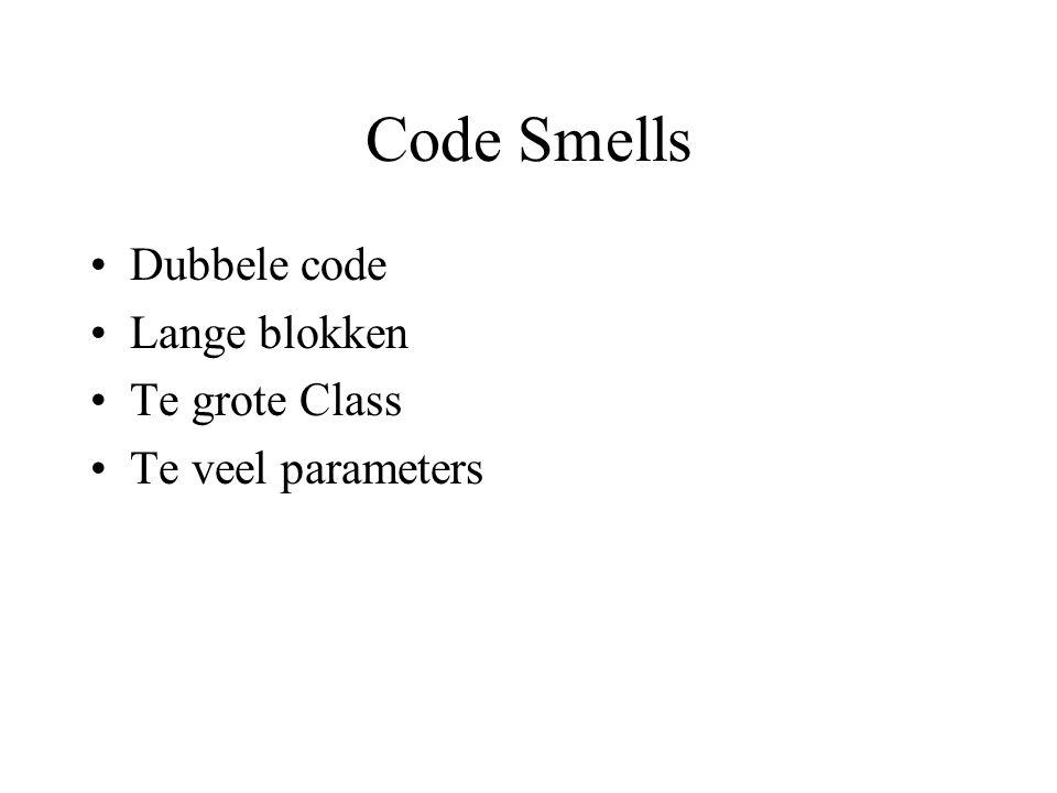 Code Smells (2) Divergente veranderingen –Eén class die veel veranderd moet worden Shotgun Surgery –Eén verandering die veel klasses beinvloedt Feature Envy –Een Class is meer geinteresserd in een andere dan in zichzelf Data clumps
