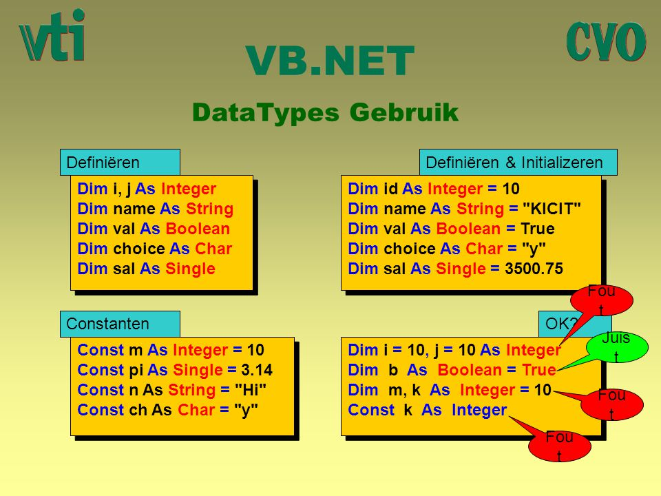 VB.NET DataTypes Gebruik Dim i, j As Integer Dim name As String Dim val As Boolean Dim choice As Char Dim sal As Single Dim i, j As Integer Dim name A