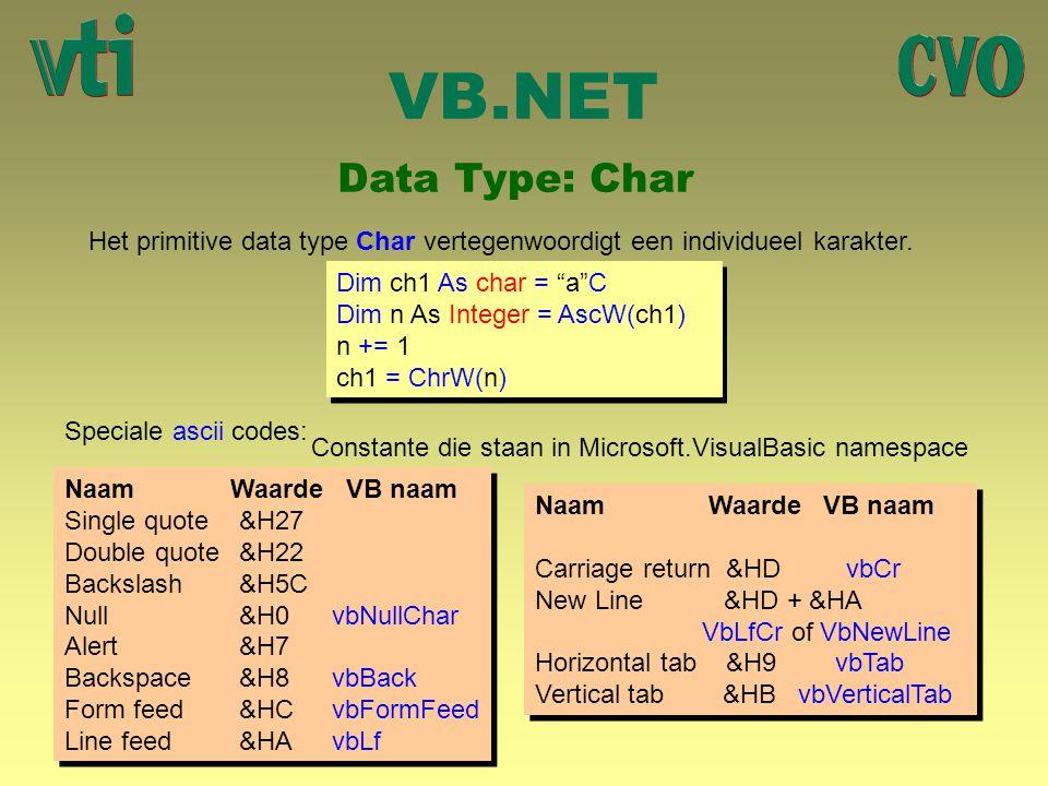 "VB.NET Data Type: Char Het primitive data type Char vertegenwoordigt een individueel karakter. Dim ch1 As char = ""a""C Dim n As Integer = AscW(ch1) n +"