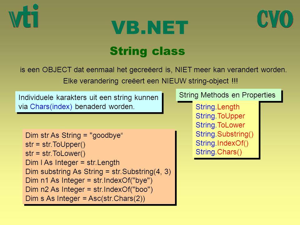 VB.NET String class is een OBJECT dat eenmaal het gecreëerd is, NIET meer kan verandert worden. Elke verandering creëert een NIEUW string-object !!! S