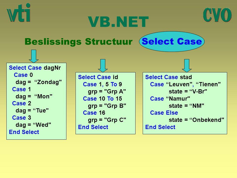 VB.NET Beslissings Structuur Select Case Select Case dagNr Case 0 dag = Zondag Case 1 dag = Mon Case 2 dag = Tue Case 3 dag = Wed End Select Select Case id Case 1, 5 To 9 grp = Grp A Case 10 To 15 grp = Grp B Case 16 grp = Grp C End Select Select Case stad Case Leuven , Tienen state = V-Br Case Namur state = NM Case Else state = Onbekend End Select