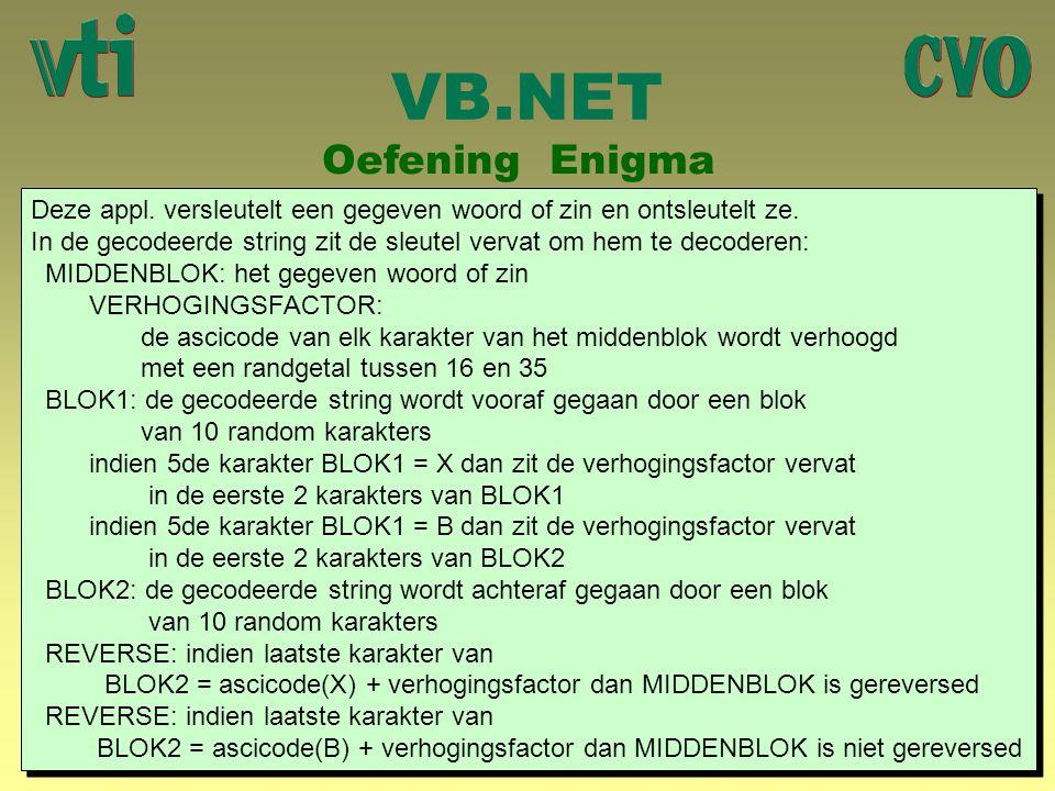 VB.NET Oefening Enigma Deze appl. versleutelt een gegeven woord of zin en ontsleutelt ze. In de gecodeerde string zit de sleutel vervat om hem te deco