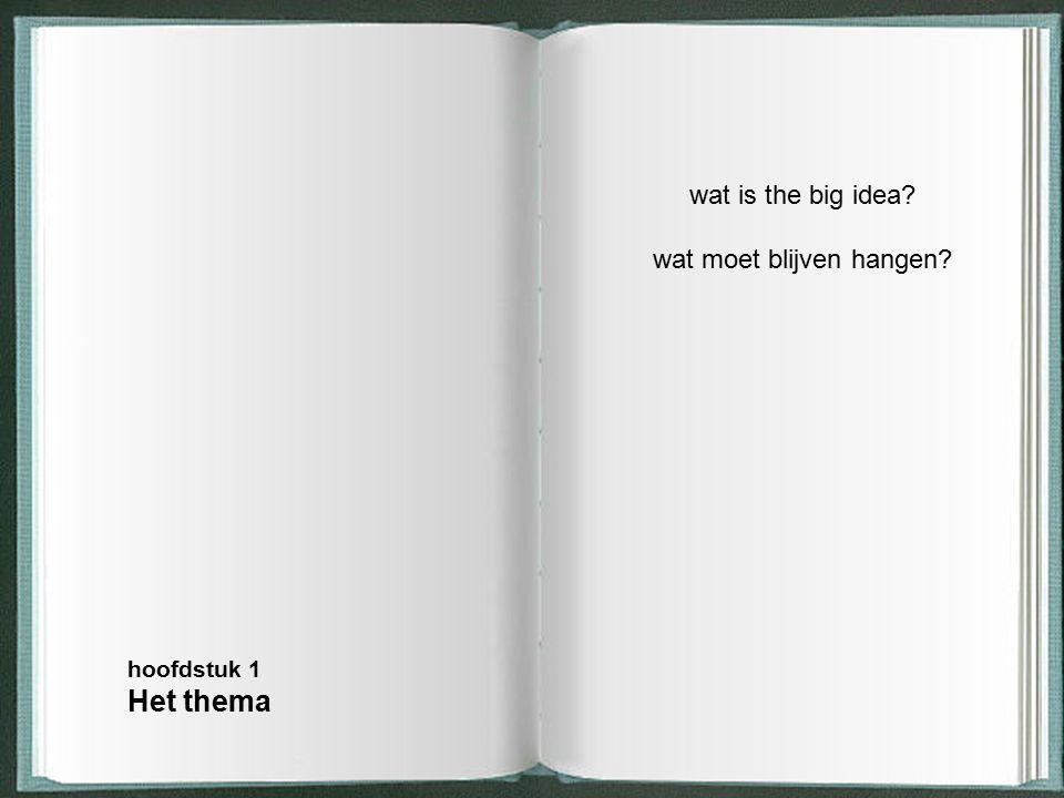 wat is the big idea? wat moet blijven hangen? hoofdstuk 1 Het thema