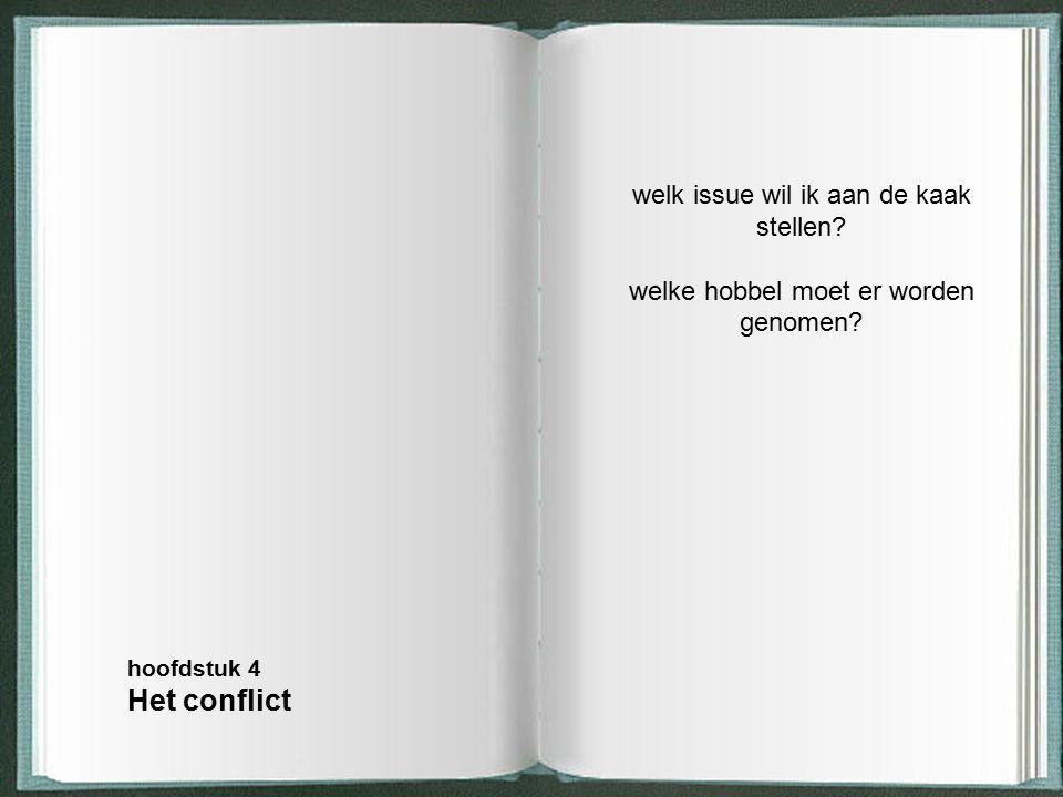 welk issue wil ik aan de kaak stellen? welke hobbel moet er worden genomen? hoofdstuk 4 Het conflict