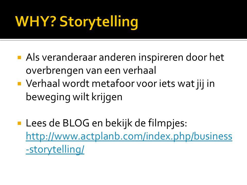  Als veranderaar anderen inspireren door het overbrengen van een verhaal  Verhaal wordt metafoor voor iets wat jij in beweging wilt krijgen  Lees de BLOG en bekijk de filmpjes: http://www.actplanb.com/index.php/business -storytelling/ http://www.actplanb.com/index.php/business -storytelling/