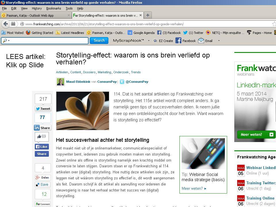 LEES artikel: Klik op Slide