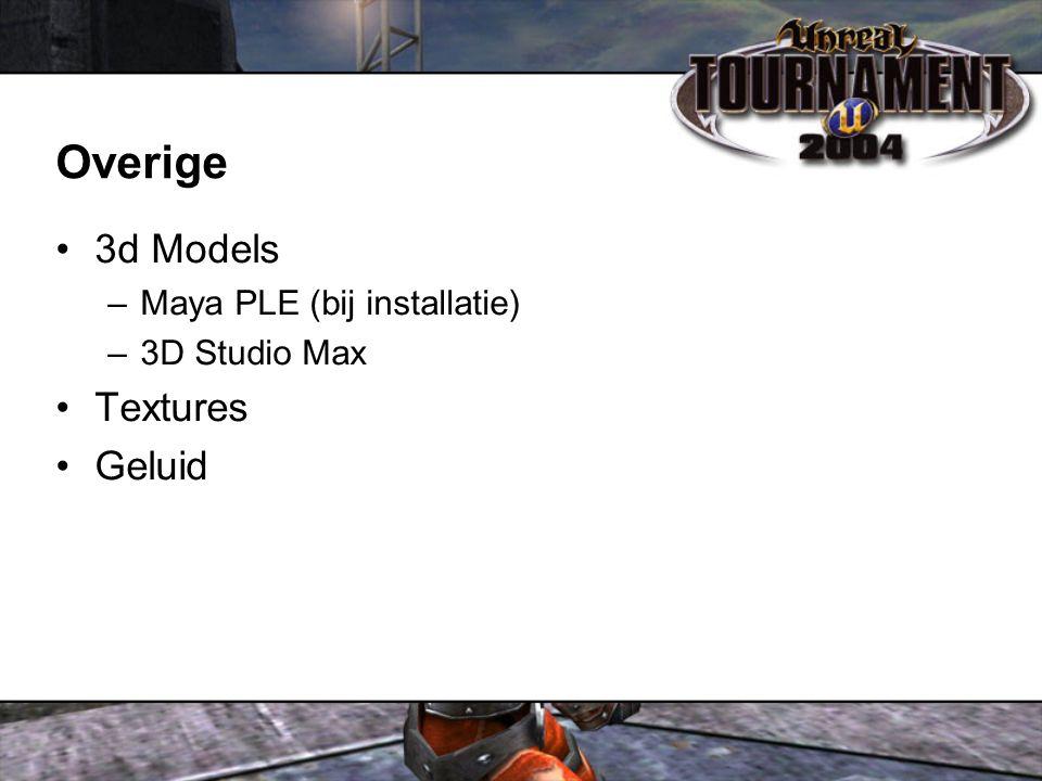 Overige 3d Models –Maya PLE (bij installatie) –3D Studio Max Textures Geluid