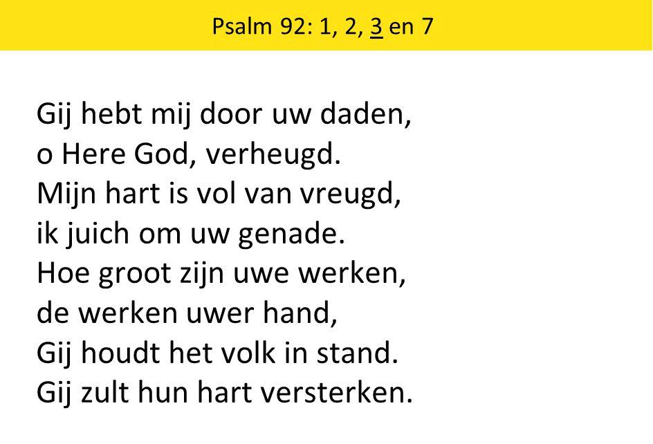 Gij hebt mij door uw daden, o Here God, verheugd.