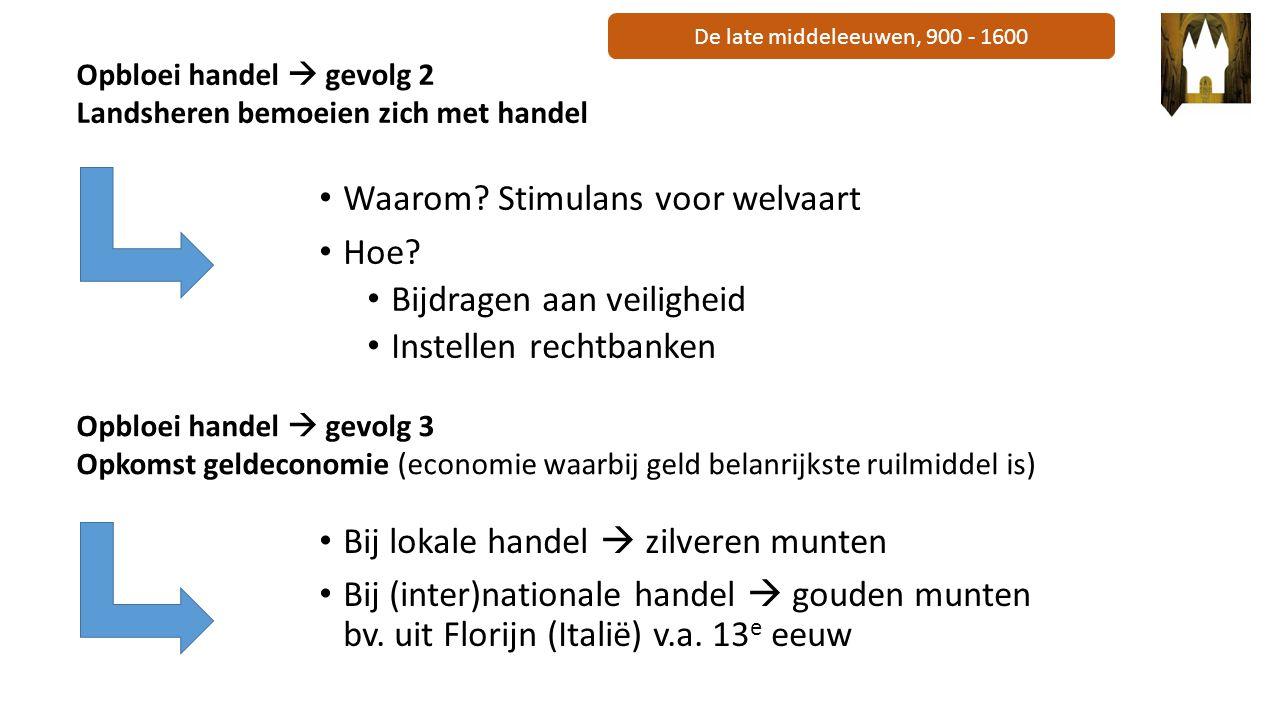 De late middeleeuwen, 900 - 1600 Waarom? Stimulans voor welvaart Hoe? Bijdragen aan veiligheid Instellen rechtbanken Opbloei handel  gevolg 2 Landshe