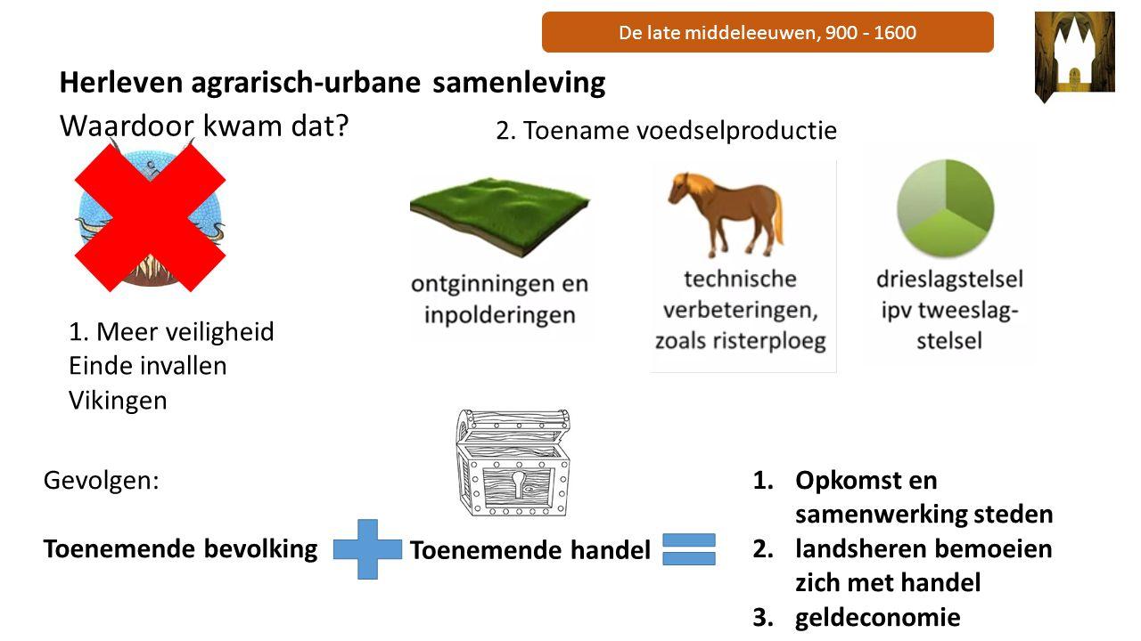 De late middeleeuwen, 900 - 1600 Herleven agrarisch-urbane samenleving Waardoor kwam dat? 1. Meer veiligheid Einde invallen Vikingen 2. Toename voedse