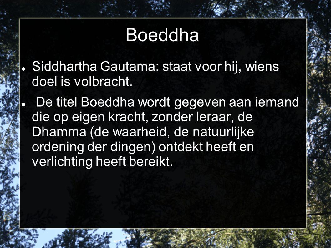 Boeddha Siddhartha Gautama: staat voor hij, wiens doel is volbracht. De titel Boeddha wordt gegeven aan iemand die op eigen kracht, zonder leraar, de