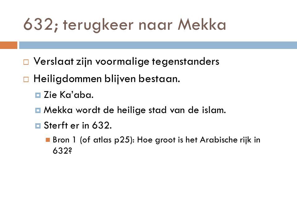 632; terugkeer naar Mekka  Verslaat zijn voormalige tegenstanders  Heiligdommen blijven bestaan.  Zie Ka'aba.  Mekka wordt de heilige stad van de