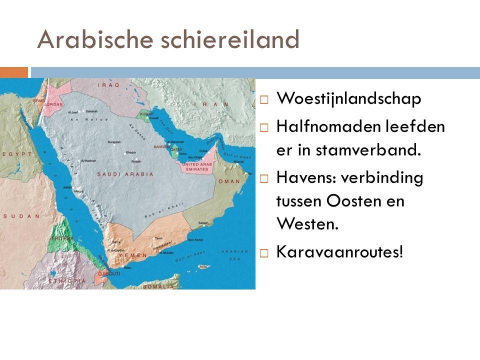 Arabische schiereiland  Woestijnlandschap  Halfnomaden leefden er in stamverband.  Havens: verbinding tussen Oosten en Westen.  Karavaanroutes!