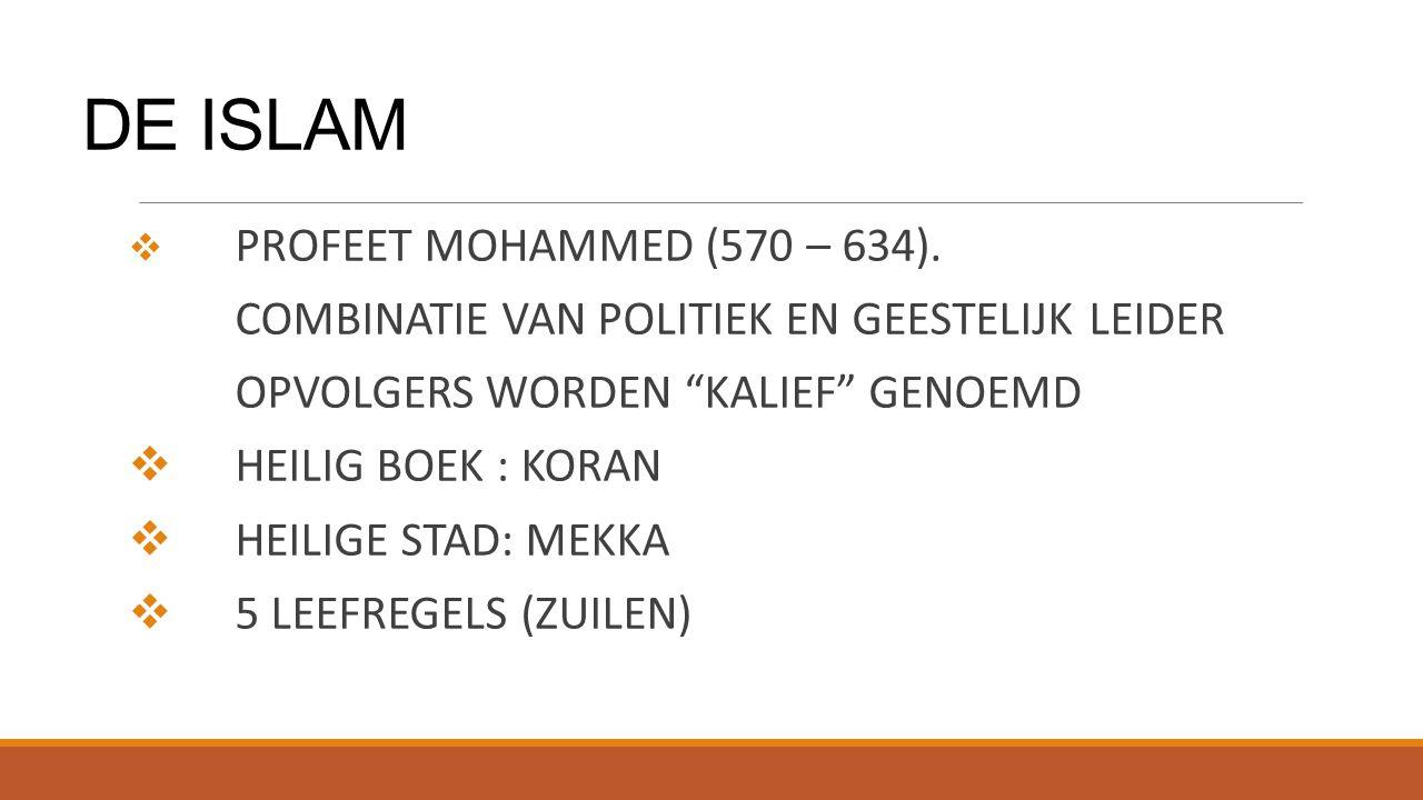 """DE ISLAM  PROFEET MOHAMMED (570 – 634). COMBINATIE VAN POLITIEK EN GEESTELIJK LEIDER OPVOLGERS WORDEN """"KALIEF"""" GENOEMD  HEILIG BOEK : KORAN  HEILIG"""