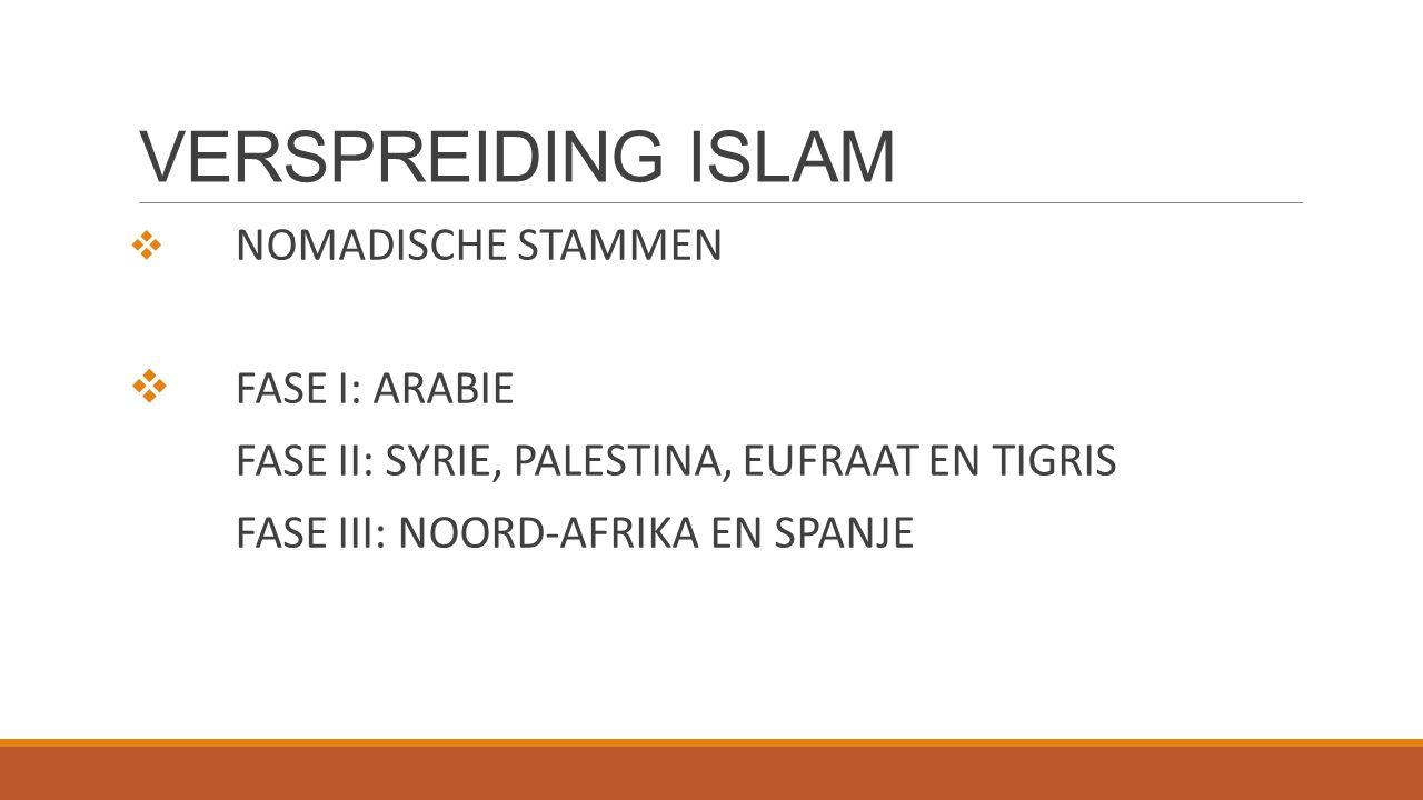 VERSPREIDING ISLAM  NOMADISCHE STAMMEN  FASE I: ARABIE FASE II: SYRIE, PALESTINA, EUFRAAT EN TIGRIS FASE III: NOORD-AFRIKA EN SPANJE