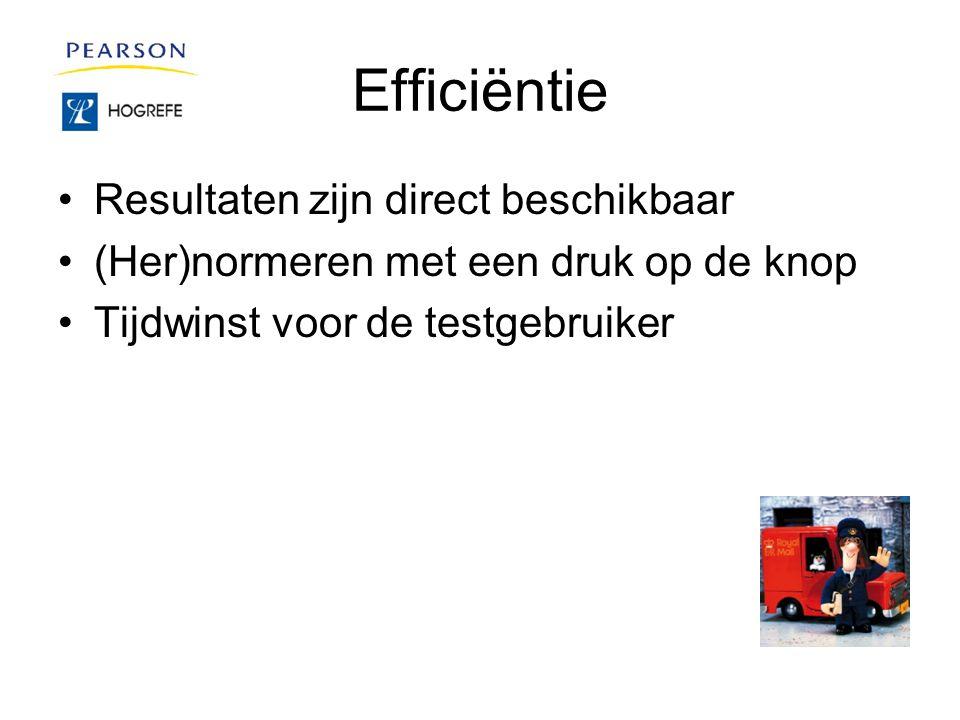 Efficiëntie Resultaten zijn direct beschikbaar (Her)normeren met een druk op de knop Tijdwinst voor de testgebruiker