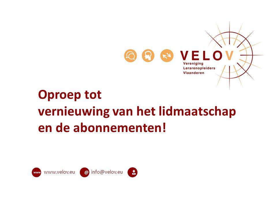 info@velov.euwww.velov.eu Oproep tot vernieuwing van het lidmaatschap en de abonnementen!