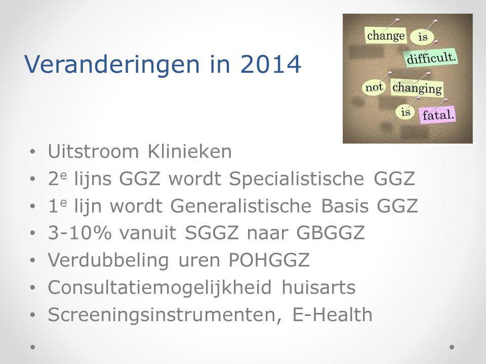 Veranderingen in 2014 Uitstroom Klinieken 2 e lijns GGZ wordt Specialistische GGZ 1 e lijn wordt Generalistische Basis GGZ 3-10% vanuit SGGZ naar GBGG