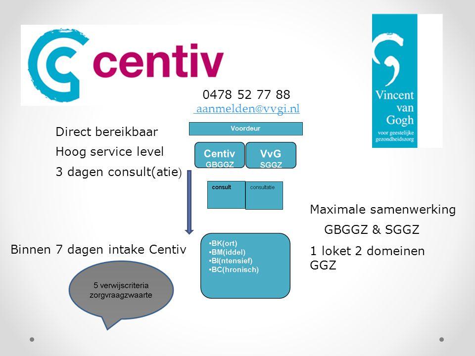 Direct bereikbaar Hoog service level 3 dagen consult(atie ) Binnen 7 dagen intake Centiv Maximale samenwerking GBGGZ & SGGZ 1 loket 2 domeinen GGZ 047