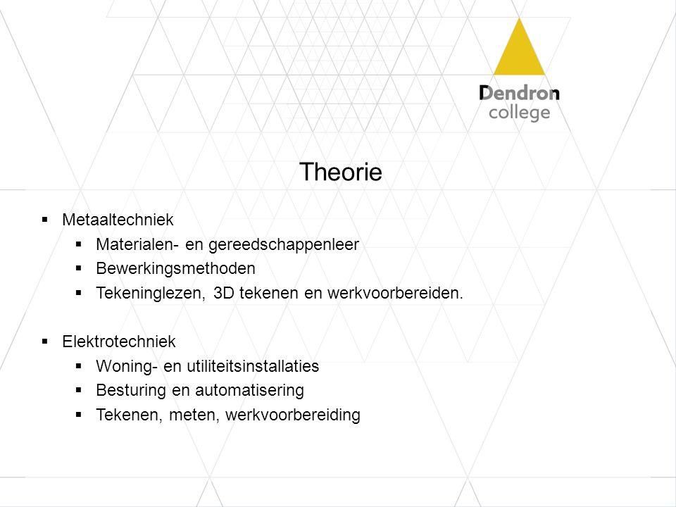 Theorie  Metaaltechniek  Materialen- en gereedschappenleer  Bewerkingsmethoden  Tekeninglezen, 3D tekenen en werkvoorbereiden.  Elektrotechniek 