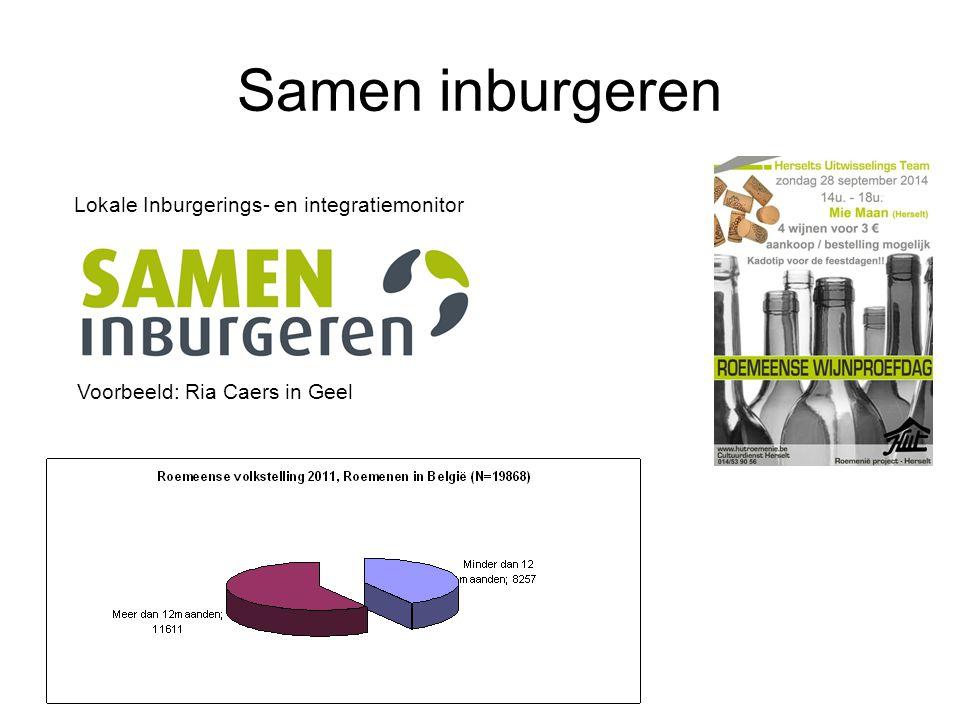 Samen inburgeren Lokale Inburgerings- en integratiemonitor Voorbeeld: Ria Caers in Geel