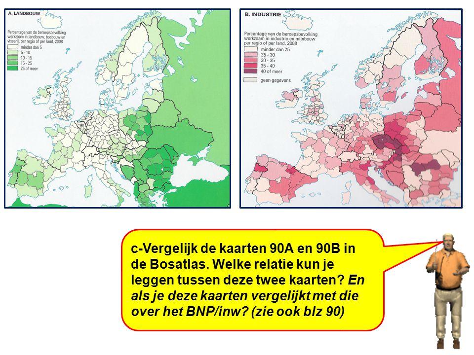 c-Vergelijk de kaarten 90A en 90B in de Bosatlas. Welke relatie kun je leggen tussen deze twee kaarten? En als je deze kaarten vergelijkt met die over