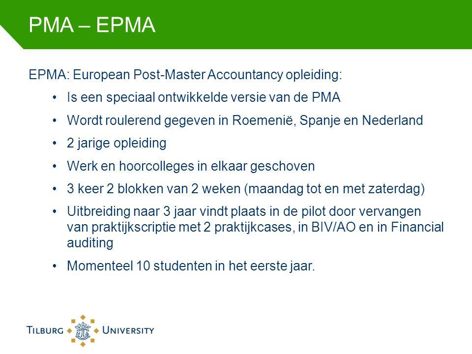 PMA – EPMA-IPMA IPMA: International Post-Master Accountancy opleiding: Is een speciaal ontwikkelde versie van de PMA Wordt alleen gegeven op Curaçao 2 jarige opleiding Werk en hoorcolleges in elkaar geschoven 3 keer 2 blokken van 2 weken (maandag tot en met zaterdag) Uitbreiding naar 3 jaar vindt plaats in de pilot door vervangen van praktijkscriptie met 2 praktijkcases, in BIV/AO en in Financial auditing Maximaal 25 studenten in het eerste jaar.