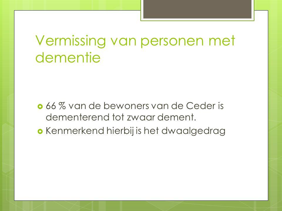 Vermissing van personen met dementie  66 % van de bewoners van de Ceder is dementerend tot zwaar dement.  Kenmerkend hierbij is het dwaalgedrag