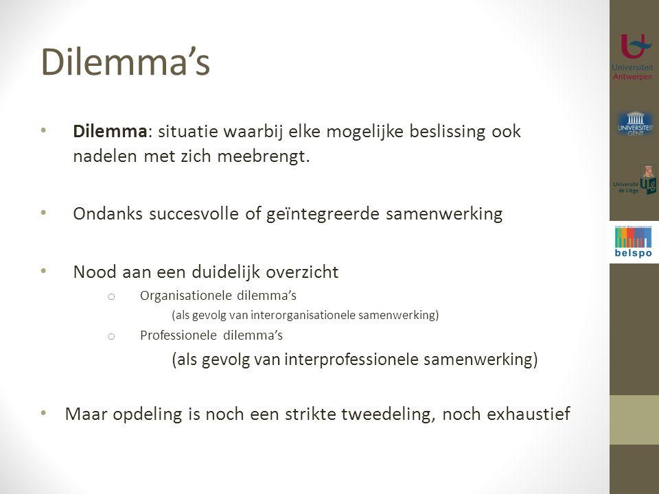 Dilemma's Dilemma: situatie waarbij elke mogelijke beslissing ook nadelen met zich meebrengt. Ondanks succesvolle of geïntegreerde samenwerking Nood a