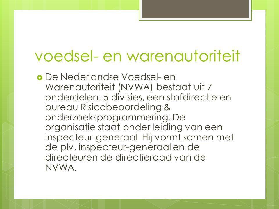 voedsel- en warenautoriteit  De Nederlandse Voedsel- en Warenautoriteit (NVWA) bestaat uit 7 onderdelen: 5 divisies, een stafdirectie en bureau Risic