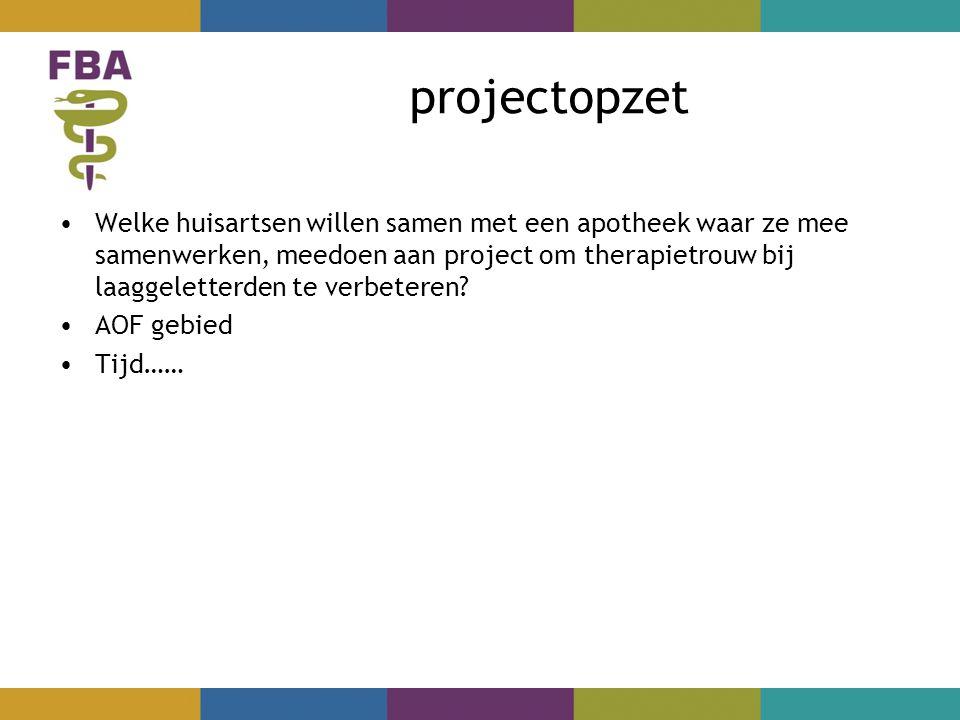 projectopzet Welke huisartsen willen samen met een apotheek waar ze mee samenwerken, meedoen aan project om therapietrouw bij laaggeletterden te verbeteren.