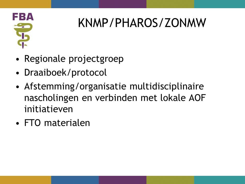 KNMP/PHAROS/ZONMW Regionale projectgroep Draaiboek/protocol Afstemming/organisatie multidisciplinaire nascholingen en verbinden met lokale AOF initiatieven FTO materialen