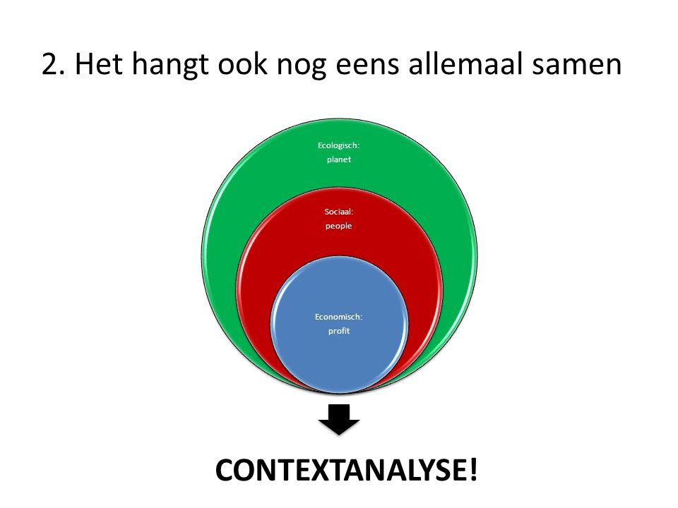 2. Het hangt ook nog eens allemaal samen Ecologisch: planet Sociaal: people Economisch: profit CONTEXTANALYSE!