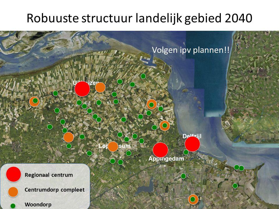 Robuuste structuur landelijk gebied 2040 11 Regionaal centrum Centrumdorp compleet Woondorp Volgen ipv plannen!!