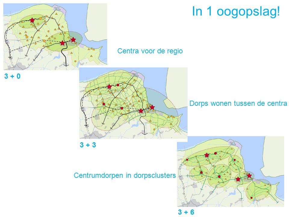 3 + 0 3 + 3 3 + 6 Centra voor de regio Dorps wonen tussen de centra Centrumdorpen in dorpsclusters In 1 oogopslag!