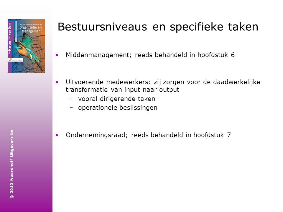 © 2012 Noordhoff Uitgevers bv Bestuursniveaus en specifieke taken Middenmanagement; reeds behandeld in hoofdstuk 6 Uitvoerende medewerkers: zij zorgen