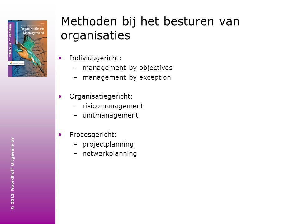 © 2012 Noordhoff Uitgevers bv Methoden bij het besturen van organisaties Individugericht: –management by objectives –management by exception Organisat