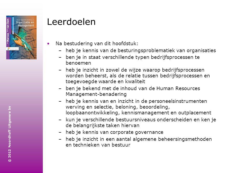 © 2012 Noordhoff Uitgevers bv Leerdoelen Na bestudering van dit hoofdstuk: –heb je kennis van de besturingsproblematiek van organisaties –ben je in st