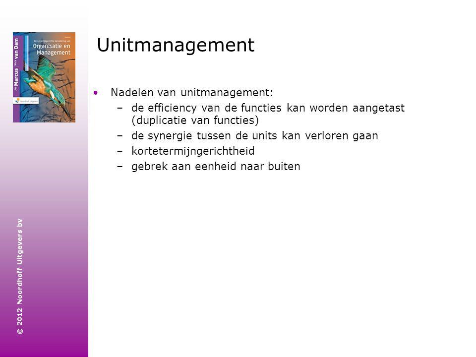 © 2012 Noordhoff Uitgevers bv Unitmanagement Nadelen van unitmanagement: –de efficiency van de functies kan worden aangetast (duplicatie van functies)