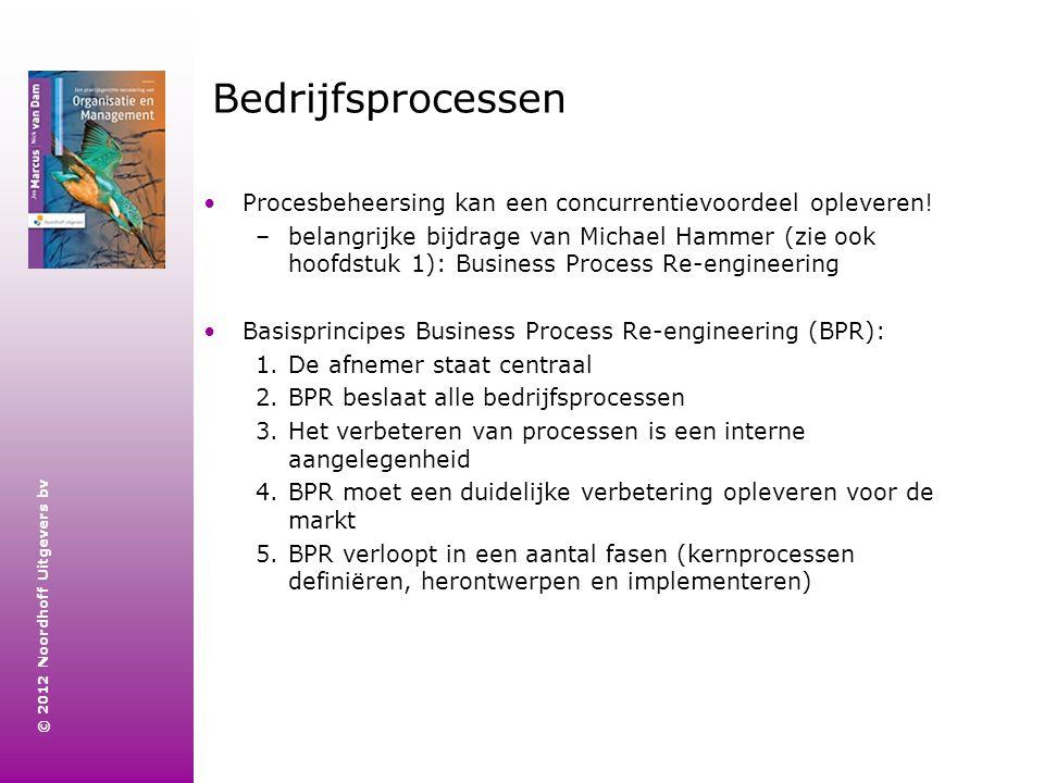 © 2012 Noordhoff Uitgevers bv Bedrijfsprocessen Procesbeheersing kan een concurrentievoordeel opleveren! –belangrijke bijdrage van Michael Hammer (zie