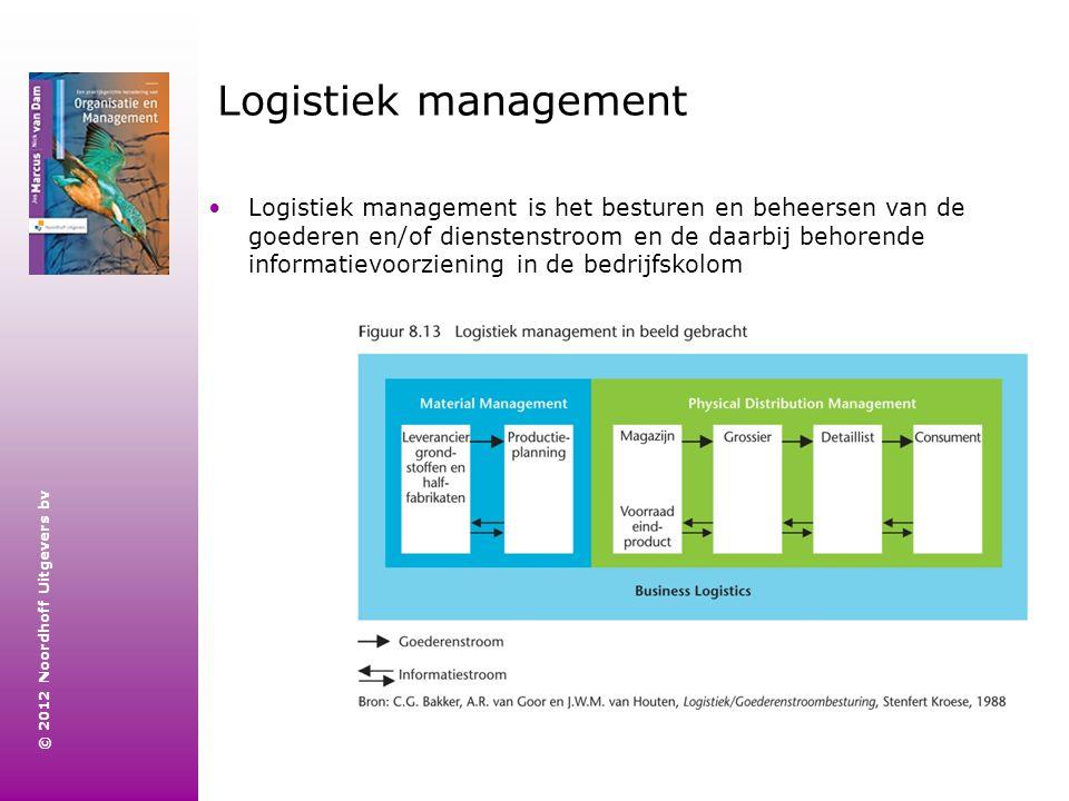 © 2012 Noordhoff Uitgevers bv Logistiek management Logistiek management is het besturen en beheersen van de goederen en/of dienstenstroom en de daarbi