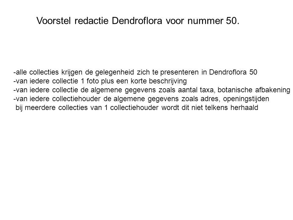 Voorstel redactie Dendroflora voor nummer 50.