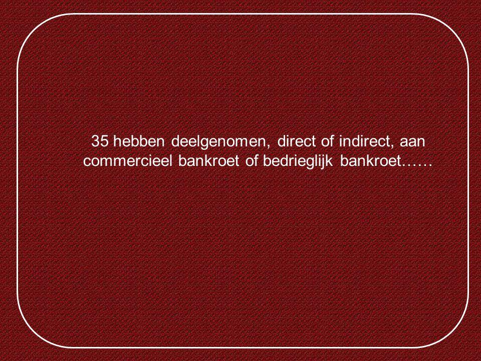 35 hebben deelgenomen, direct of indirect, aan commercieel bankroet of bedrieglijk bankroet……
