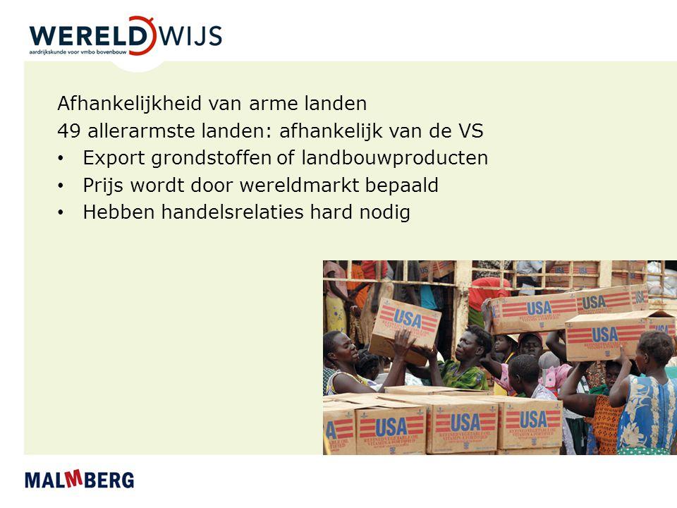 Afhankelijkheid van arme landen 49 allerarmste landen: afhankelijk van de VS Export grondstoffen of landbouwproducten Prijs wordt door wereldmarkt bep