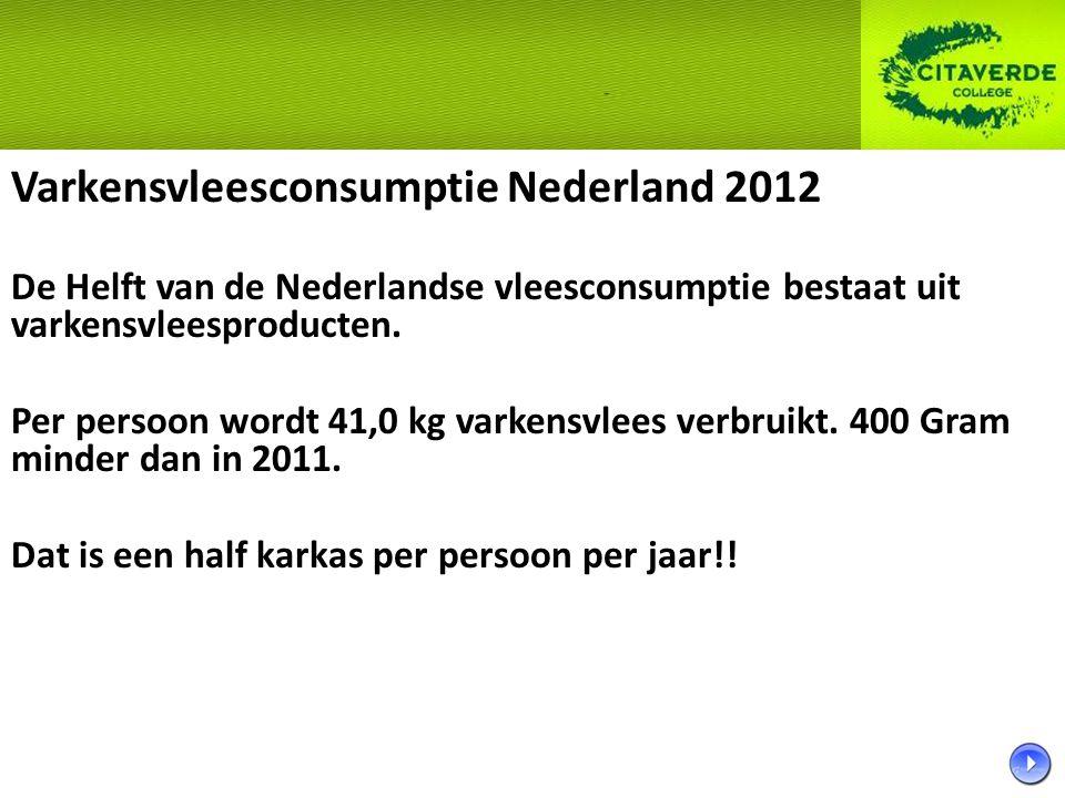 Varkensvleesconsumptie Nederland 2012 De Helft van de Nederlandse vleesconsumptie bestaat uit varkensvleesproducten. Per persoon wordt 41,0 kg varkens
