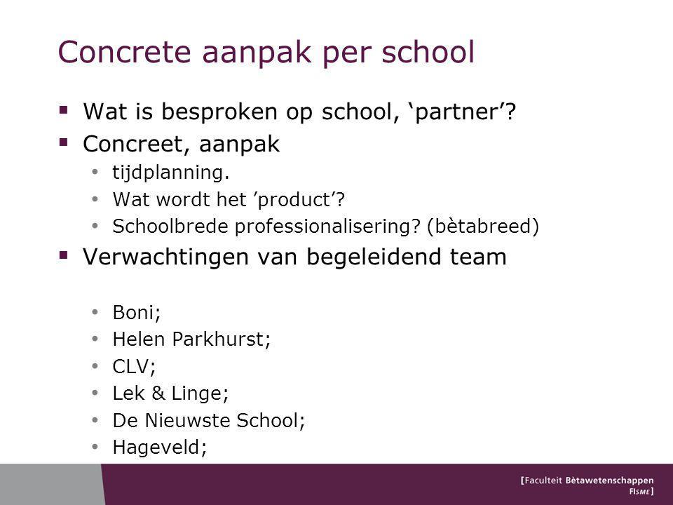 Concrete aanpak per school  Wat is besproken op school, 'partner'.
