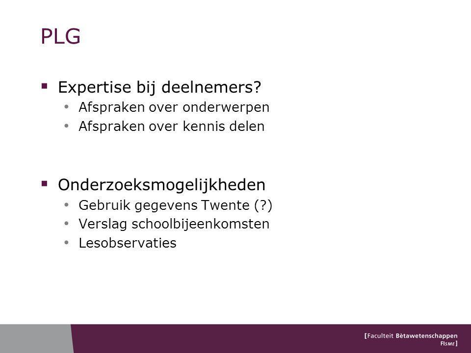 PLG  Expertise bij deelnemers.