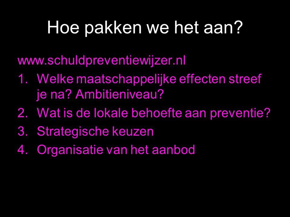 Hoe pakken we het aan. www.schuldpreventiewijzer.nl 1.Welke maatschappelijke effecten streef je na.
